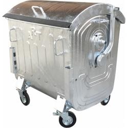 Металлический оцинкованный контейнер для раздельного сбора отходов емкостью 1,1 куб.м. типа «евроконтейнер» (для сбора отходов ПЛАСТИКА)