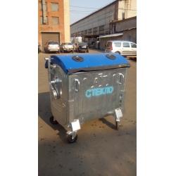 Металлический оцинкованный контейнер для раздельного сбора отходов емкостью 1,1 куб.м. типа «евроконтейнер» (для сбора отходов СТЕКЛА)